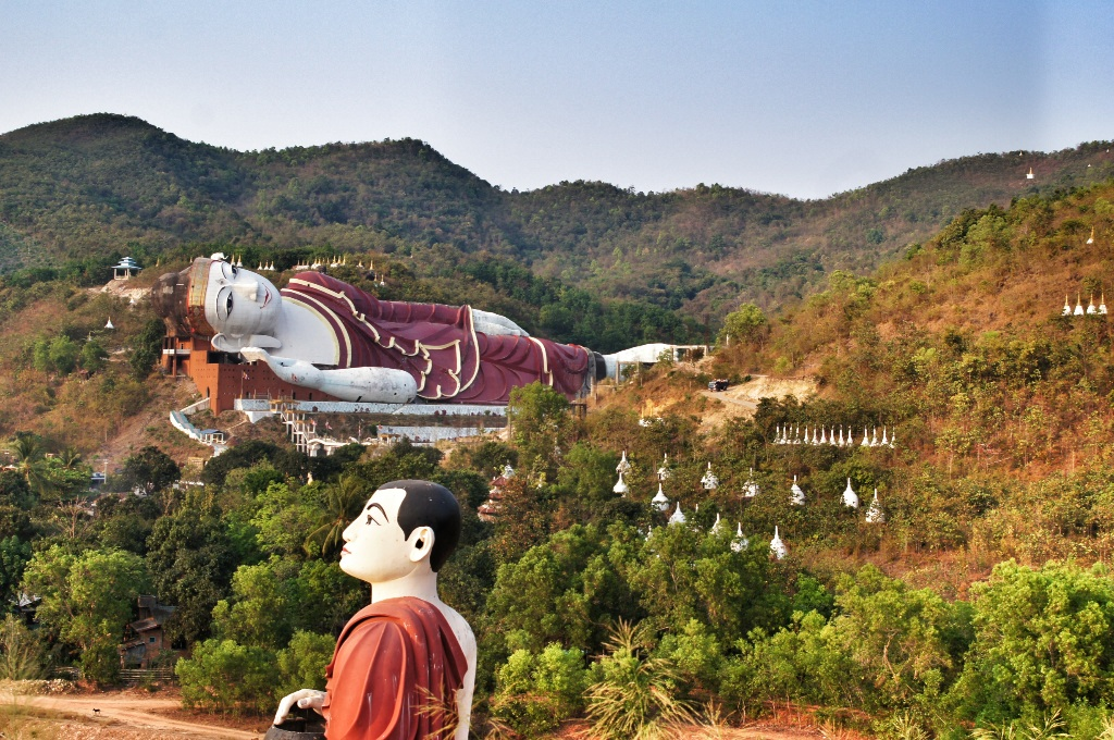A huge reclining Buddha statue near Mawlamyine. It is 188m long (three times as big as the famous Wat Pho Buddha statue in Bangkok and the whole complex is just awe inspiring.