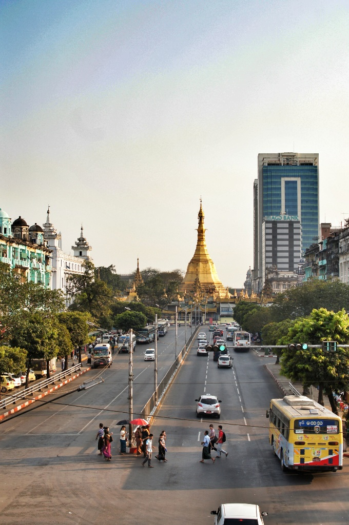 Yangon downtown on a Sunday afternoon.