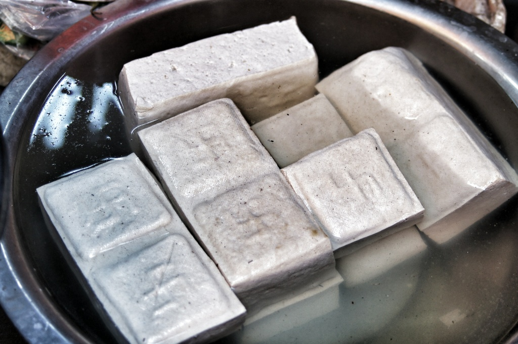 Swastika branded tofu sold on the streets of Yangon.