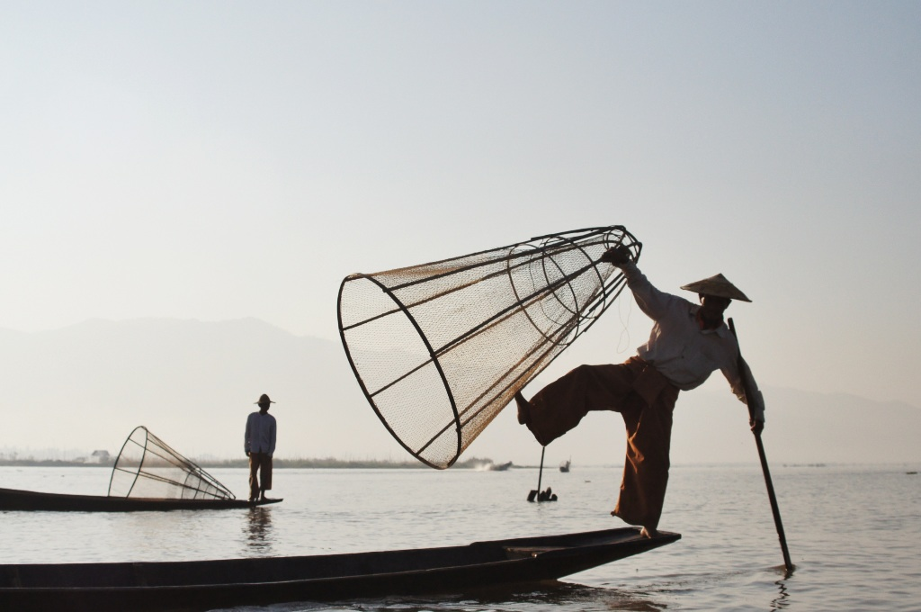 Fishermen were more than happy to pose for an iconic Inle Lake shot.
