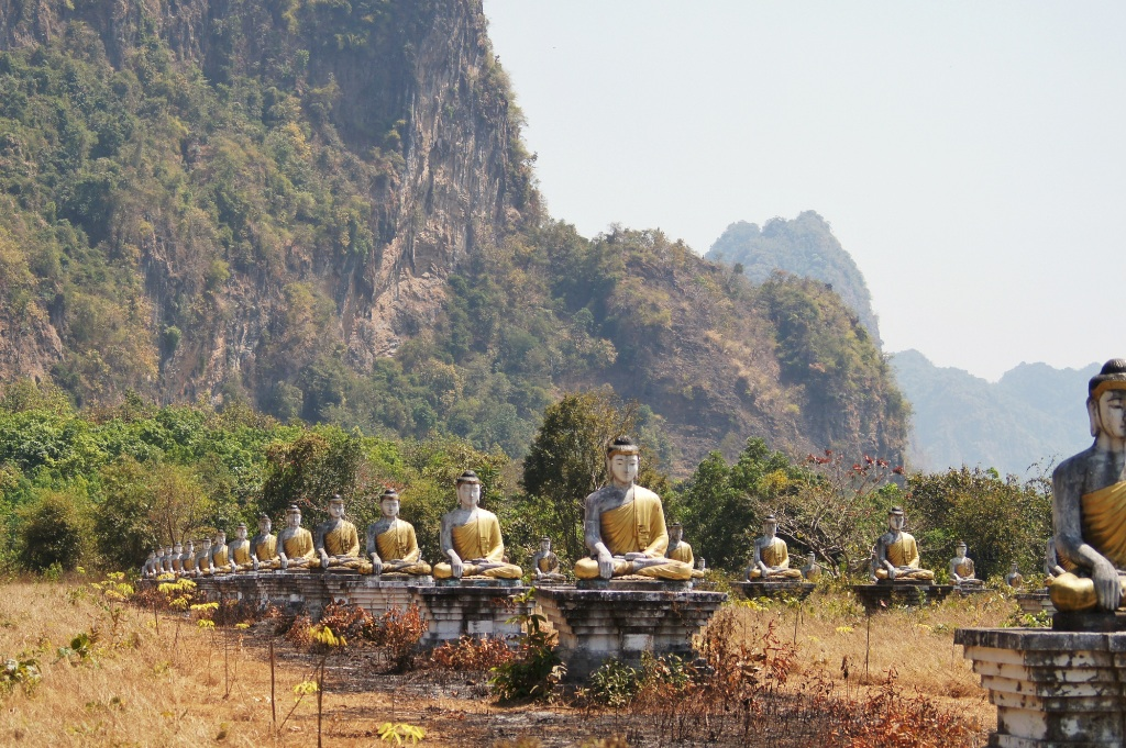 Thousands of Buddha statues in the base of the Zwegabin mountain.